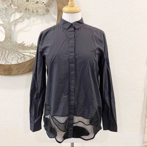 COS Poplin Button Down Shirt Modern Mesh Hem Navy